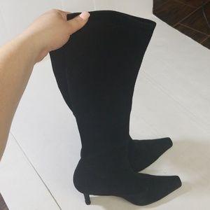 Stuart weitzman black suade heeled knee boots 8